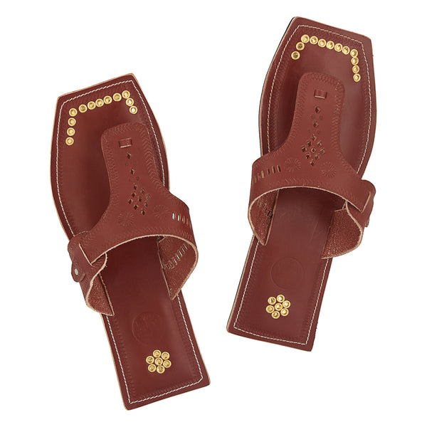 Premium Quality Outstanding Designers Golden Rivets Red Brown Kolhapuri Chappal for Men KRKA-P-M-072