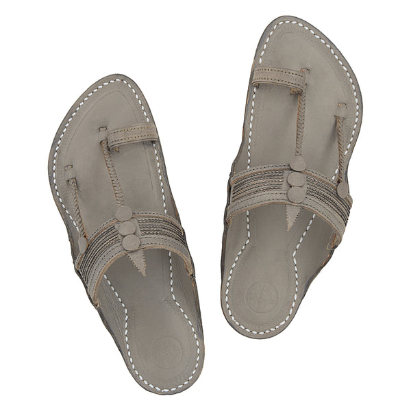 Premium Quality Traditional Styel Fine Braids Grey Kapshi Kolhapuri Chappal for Men KRKA-P-M-082