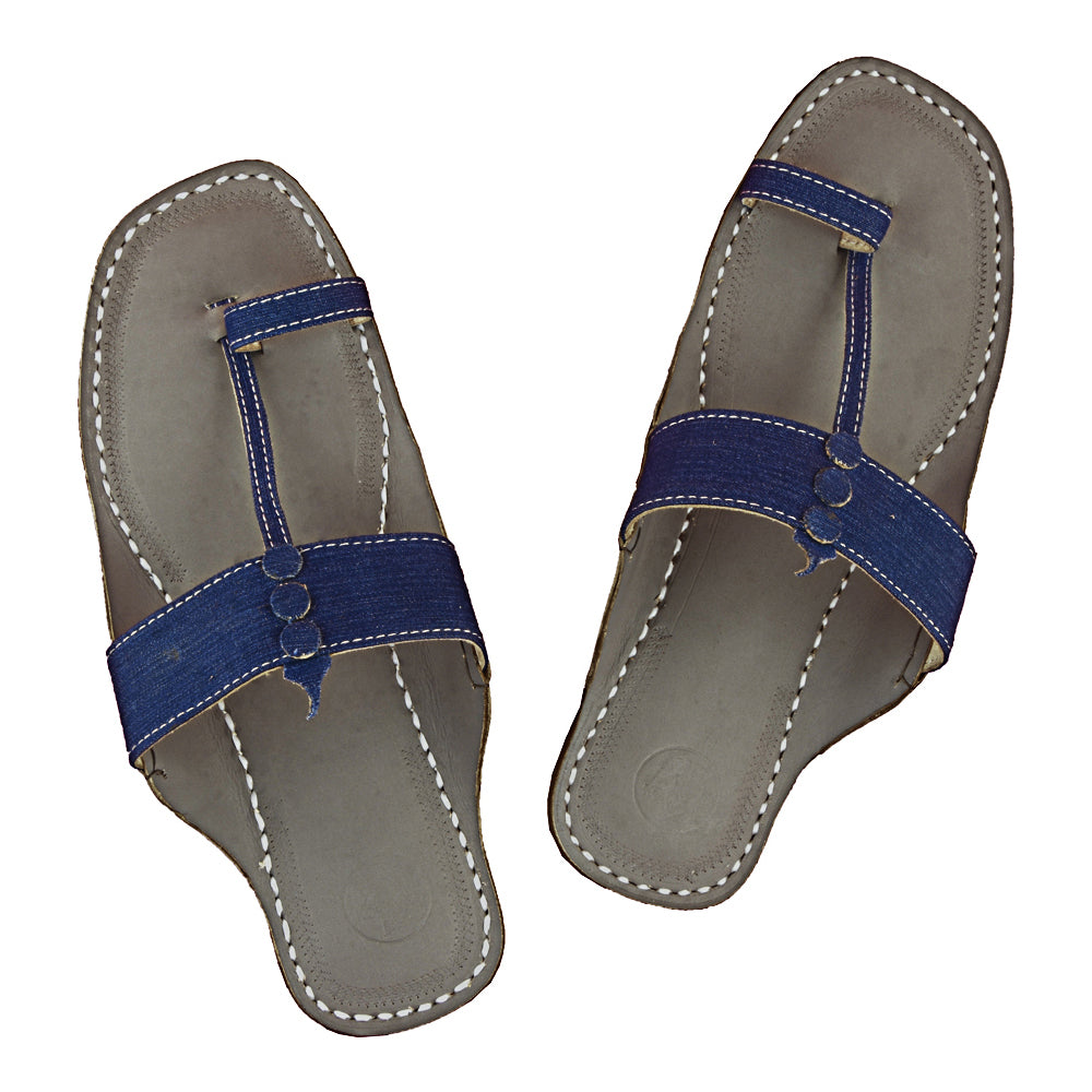 First-class Quality Grey Base and Blue Denim Upper  Kolhapuri Sandal for Men KRKA-P-M-089