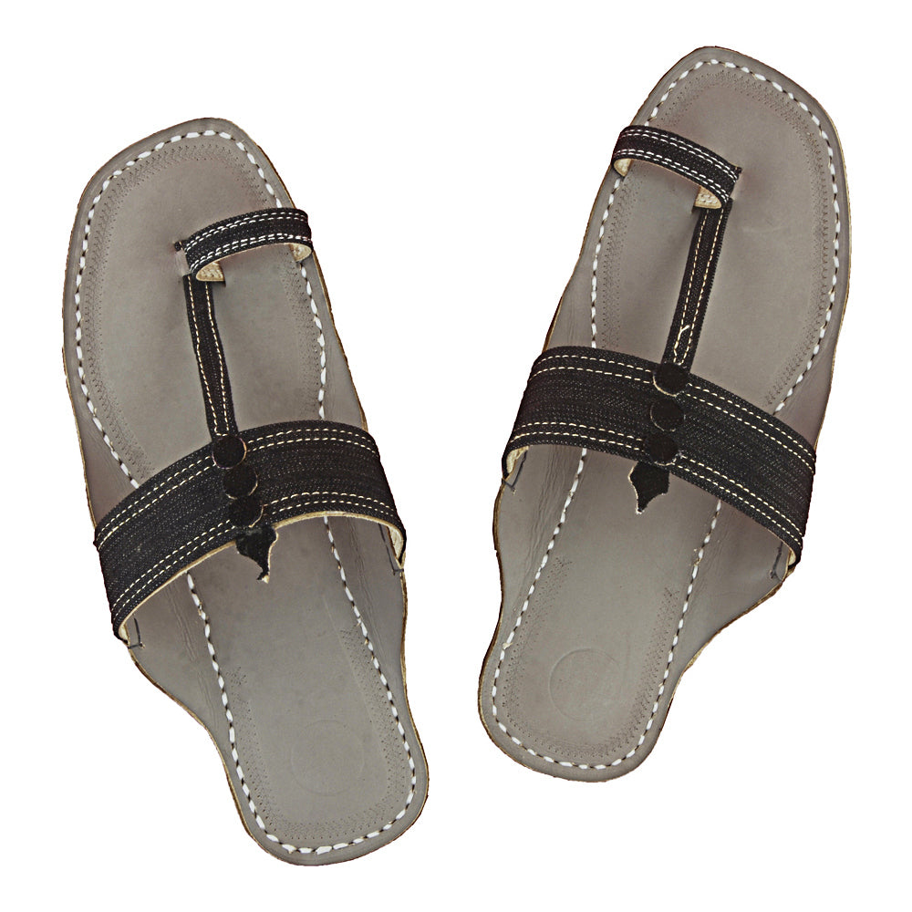 First-rate Quality Grey Base and Black Denim Upper  Kolhapuri Leather Sandal for Men KRKA-P-M-090