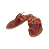 Premium Quality Old-Style Cherry Red Golden Rivets Genuine Kolhapuri Chappal for Men KRKA-P-M-106