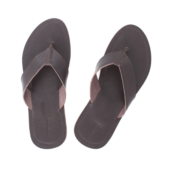 Usual Dark Brown Kolhapuri Leather Slipper for Men KRKA-P-M-165