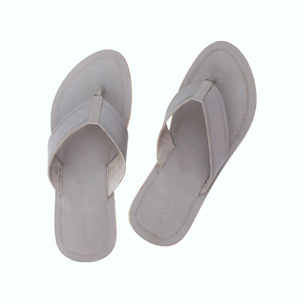 Regular Grey Kolhapuri Leather Slipper for Men KRKA-P-M-167