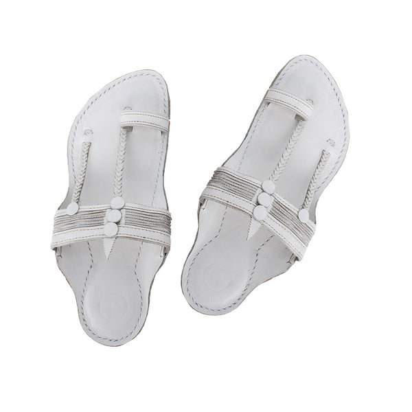 Premium Quality White Vintage Design Kolhapuri Chappal for Men KRKA-P-M-168