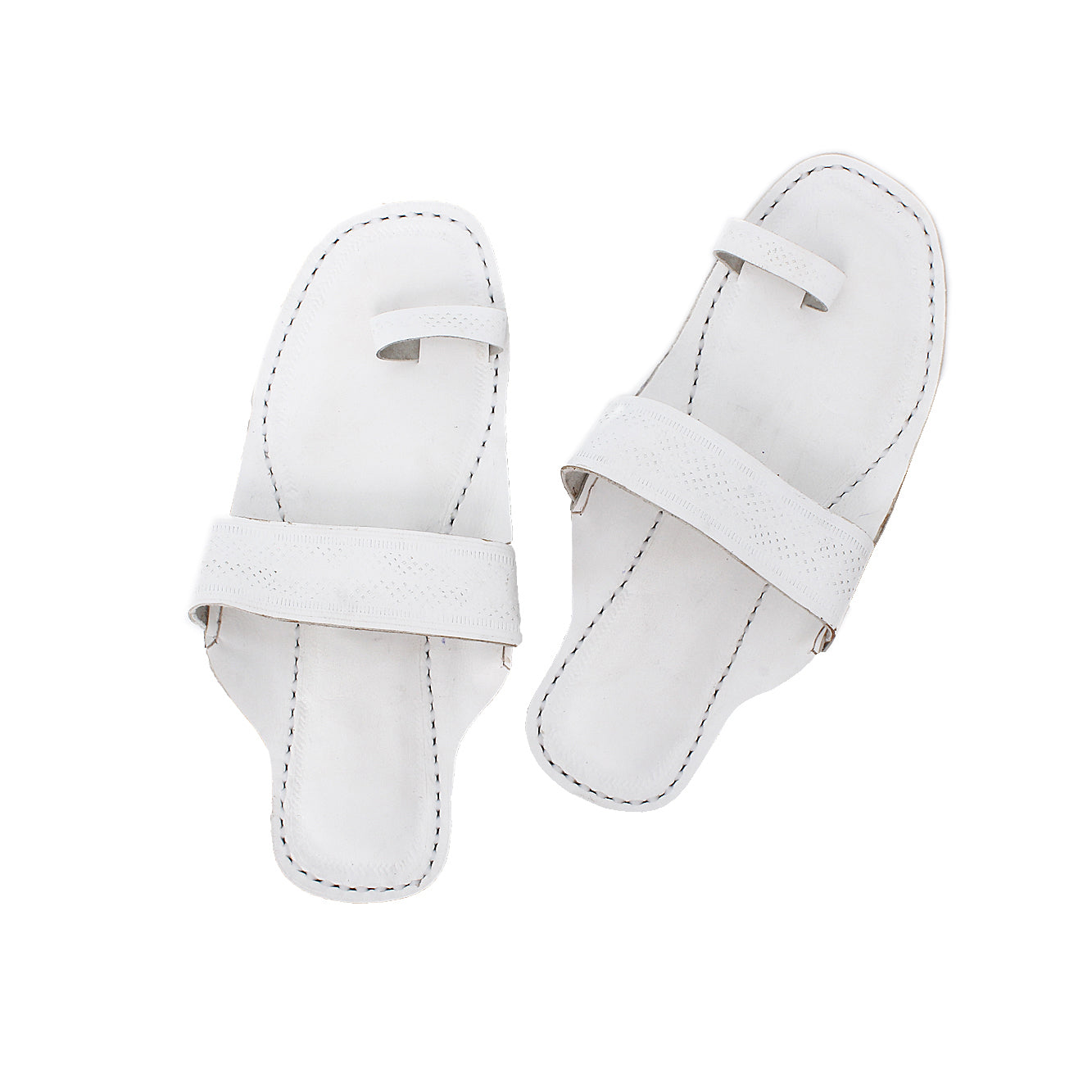 Premium Quality Toe Style White Indian Ethnic Sandal for Men KRKA-P-M-170