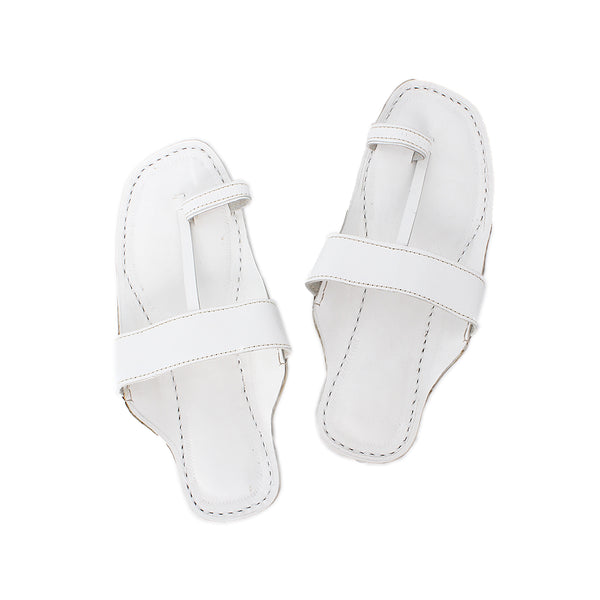 Premium Quality Toe Style White Indian Ethnic Leather Sandal for Men KRKA-P-M-172