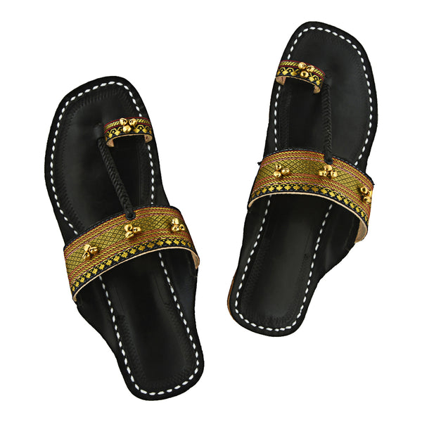 First-class Quality Black Base and Jari Upper with Ghungru Kolhapuri Chappal for Women KRKA-P-W-005