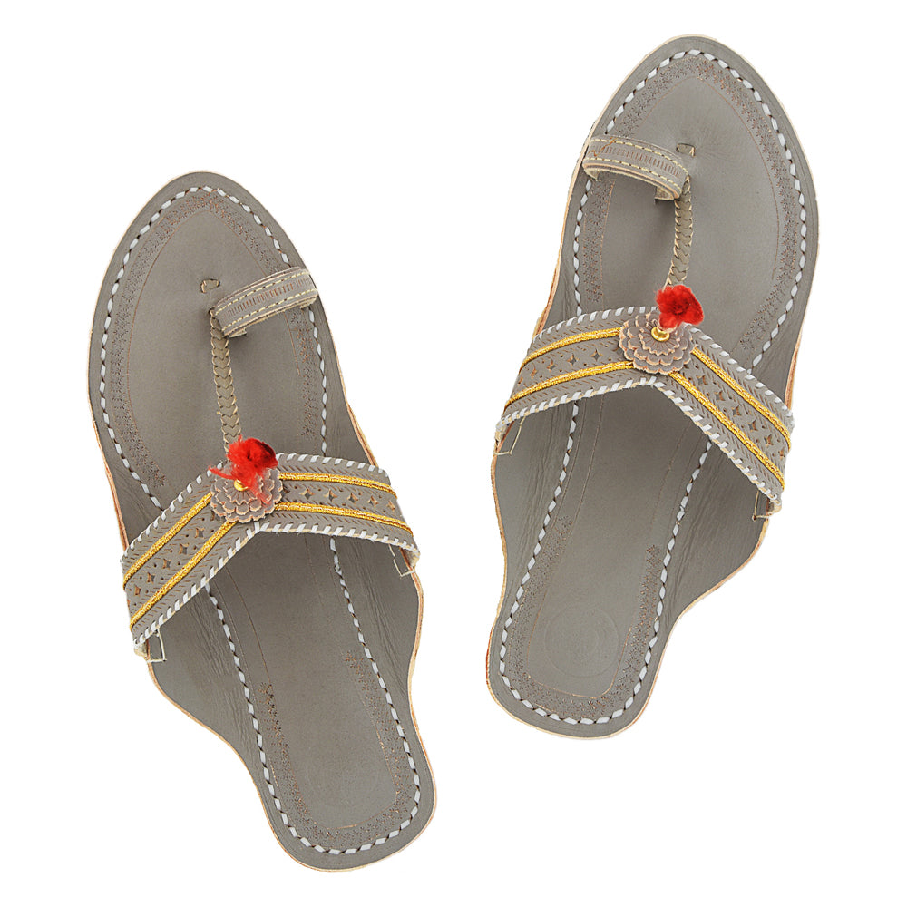 Premium Quality Old-fashioned Grey V Shape Punching Flat Heel Kolhapuri Chappal for Women KRKA-P-W-008