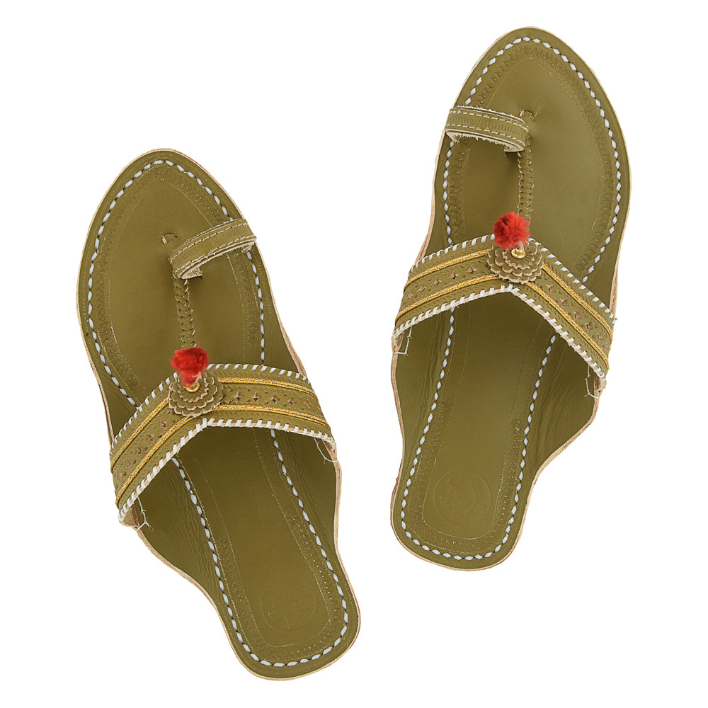 Premium Quality Antique Seaweed  V Shape Punching Flat Heel Kolhapuri Chappal for Women KRKA-P-W-018