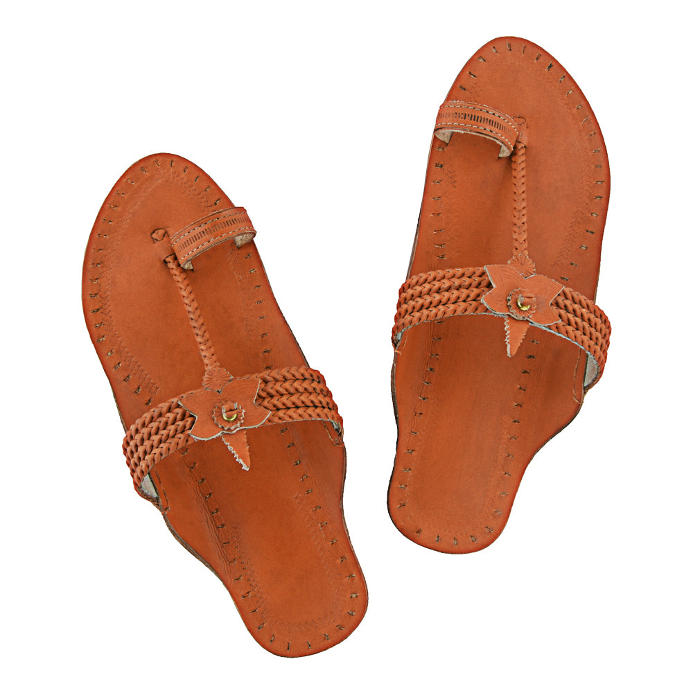 Exclusive Quality Four Braided Orange Ethnic Kolhapuri Chappal KRKA-P-W-053