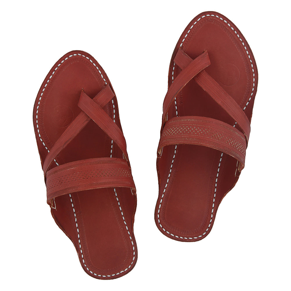 Premium Quality Fabulous Red-Brown Cross Styled Handmade Kolhapuri Chappal For Women KRKA-P-W-062