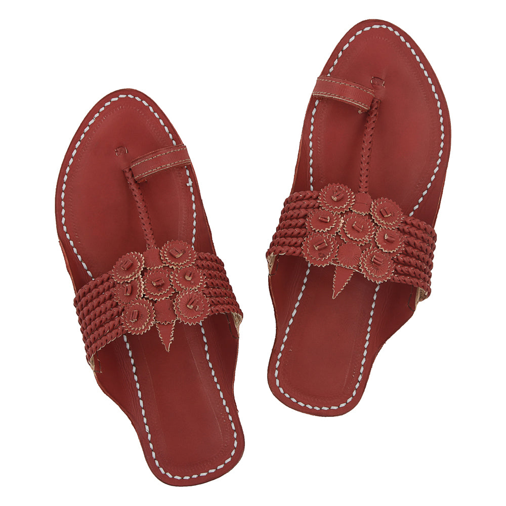Premium Quality Awesome Cherry Red Seven Braids Handcrafted Leather Kolhapuri Sandal for Women KRKA-P-W-067