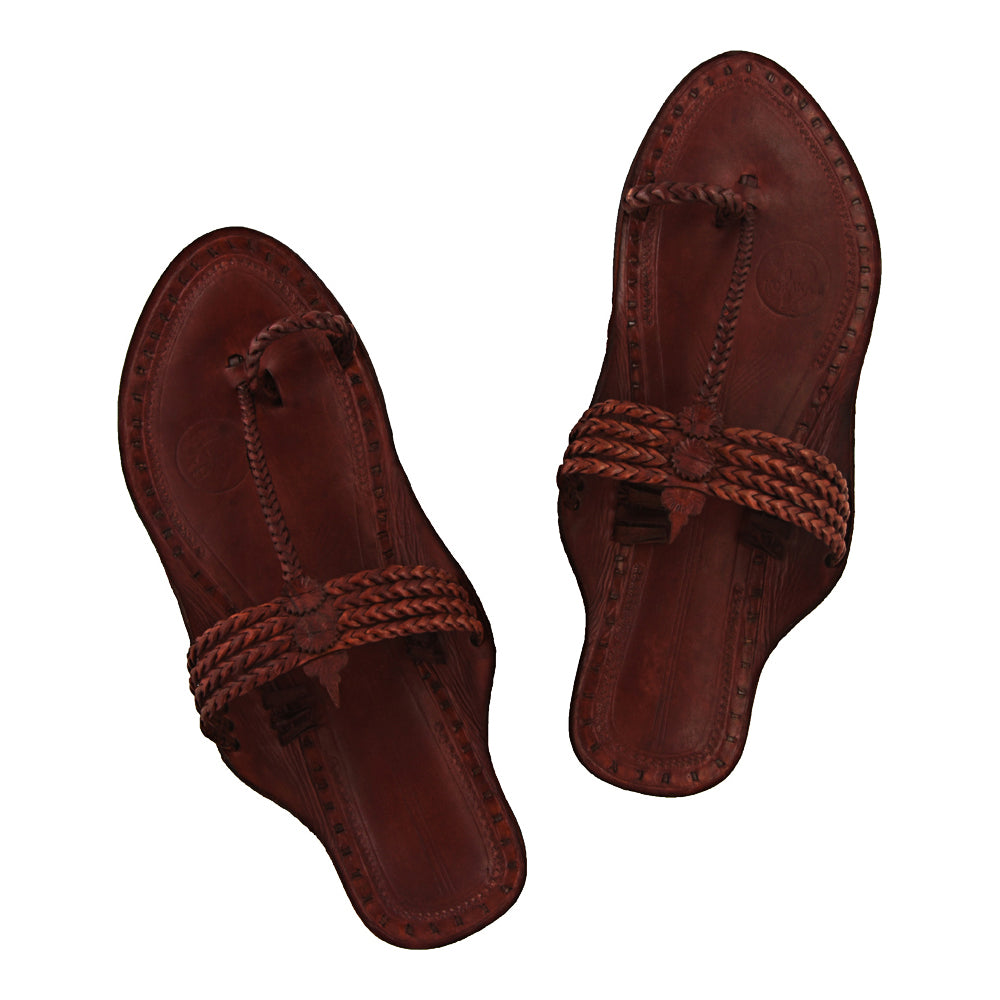 Distinctive Quality Four Braided Tan Old-style Design Kolhapuri Chappal KRKA-P-W-072