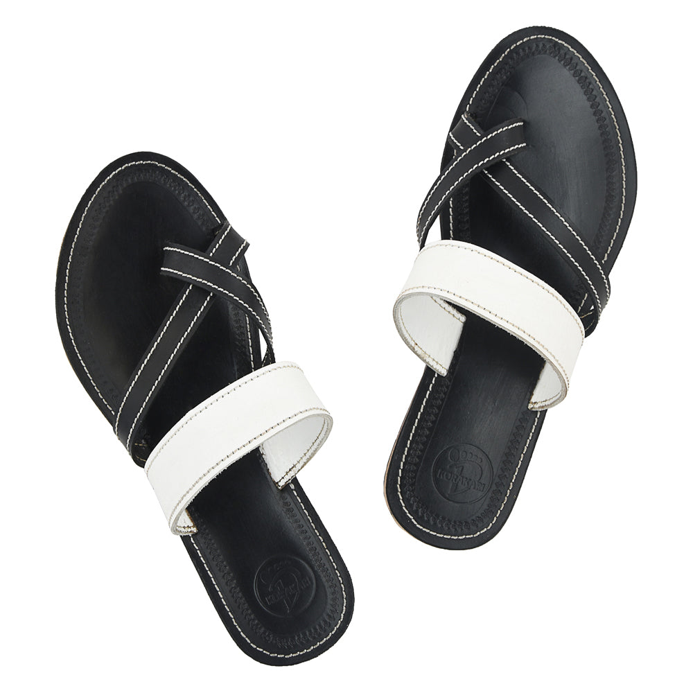 Premium Quality Stylish Black and White Handmade Leather Sandal  for Women KRKA-P-W-105