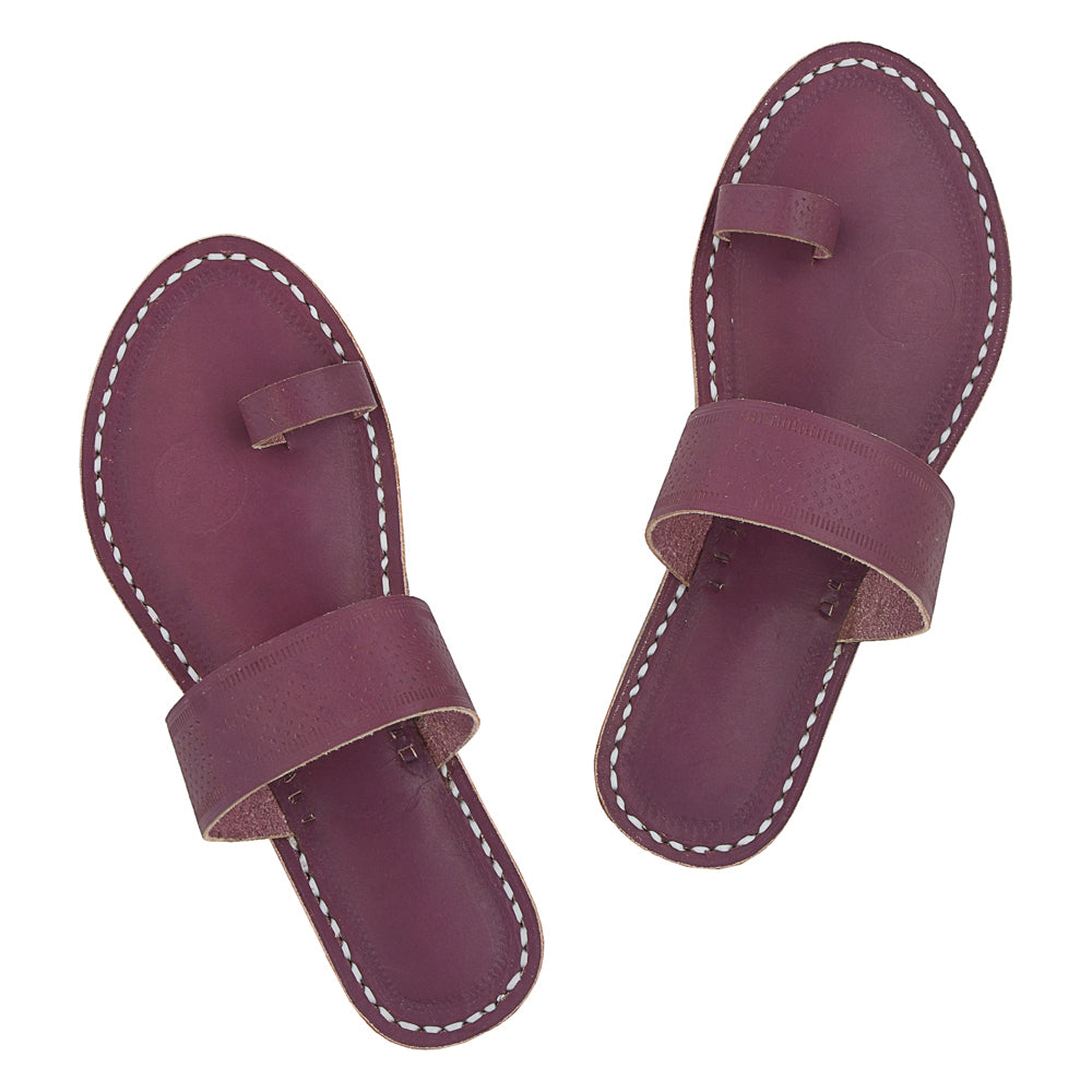 Premium Quality Purple Toe Style Pure Leather Handmade Sandal for Women KRKA-P-W-114