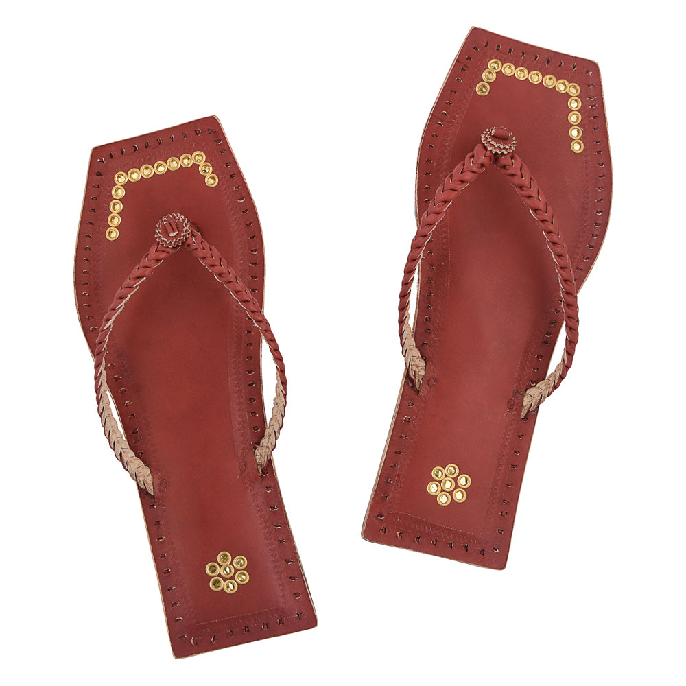 Premium Quality Gorgeous Single Braided Cherry Red Handmade Kolhapuri Leather Chappal With Golden Rings For Women KRKA-P-W-120