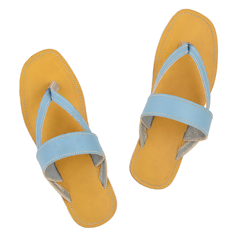Premium Quality Gorgeous Dark Yellow and Sky-Blue Leather Flip Flop for Women KRKA-P-W-124