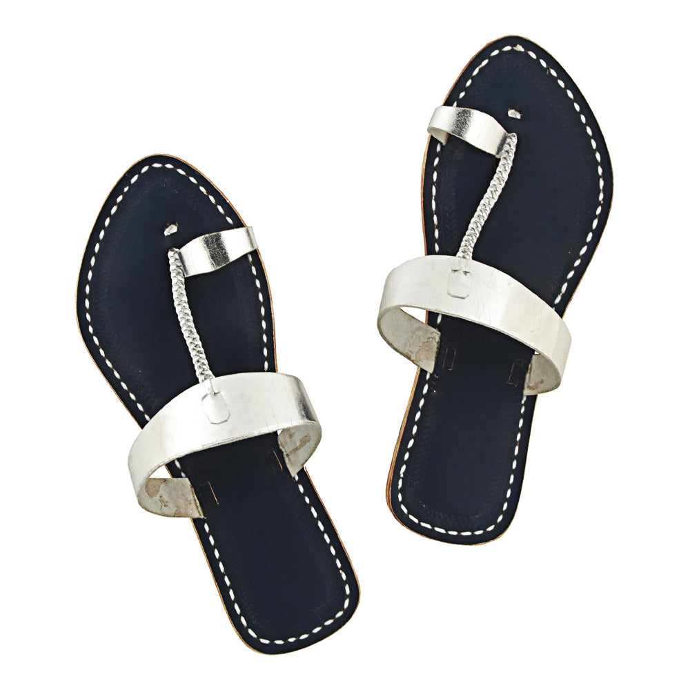 Superior Quality Dark Blue Base and Silver Upper Leather Flip Flop Sandal KRKA-P-W-140