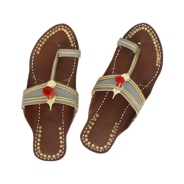 Premium Quality Awesome Grey and Brown Handmade Kolhapuri Leather Chappal for Women KRKA-P-W-173