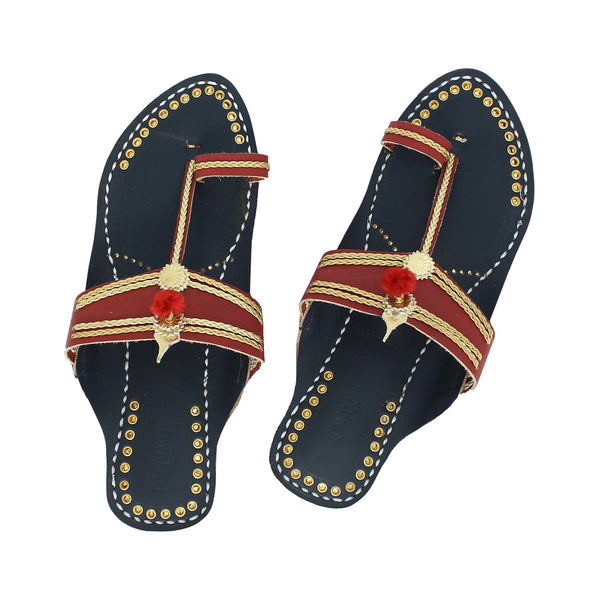 Premium Quality Breath-taking Cherry Red and Blue Handmade Kolhapuri Leather Chappal for Women KRKA-P-W-174