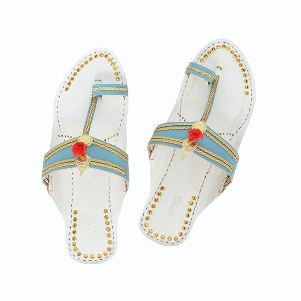 Premium Quality Overwhelming Sky Blue and White Handmade Kolhapuri Leather Chappal for Women KRKA-P-W-175