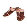 Premium Quality Remarkable Baby Pink and Red Brown Handmade Kolhapuri Leather Chappal for Women KRKA-P-W-176