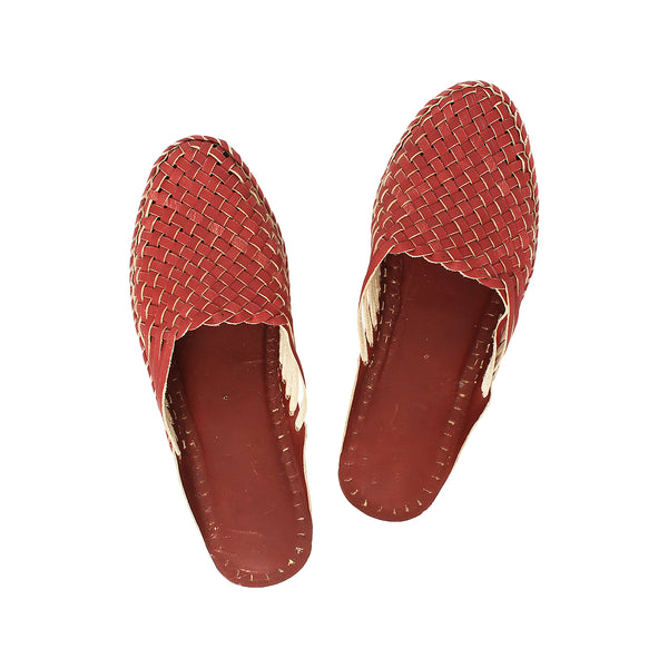 Premium Quality Superb Cherry Red Kolhapuri  Half Leather Shoe for Women KRKA-P-W-188