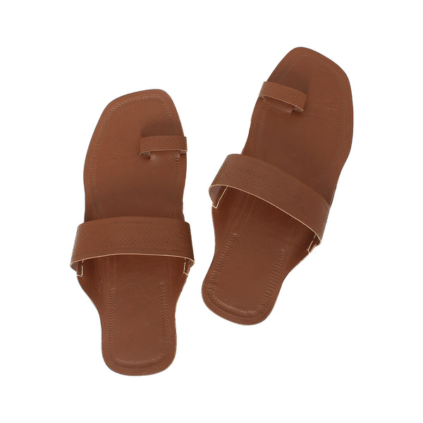 Attractive Brown Kolhapuri Leather Chappal for Women KRKA-P-W-207
