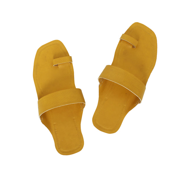 Exquisite Yellow Kolhapuri Leather Chappal for Women KRKA-P-W-209