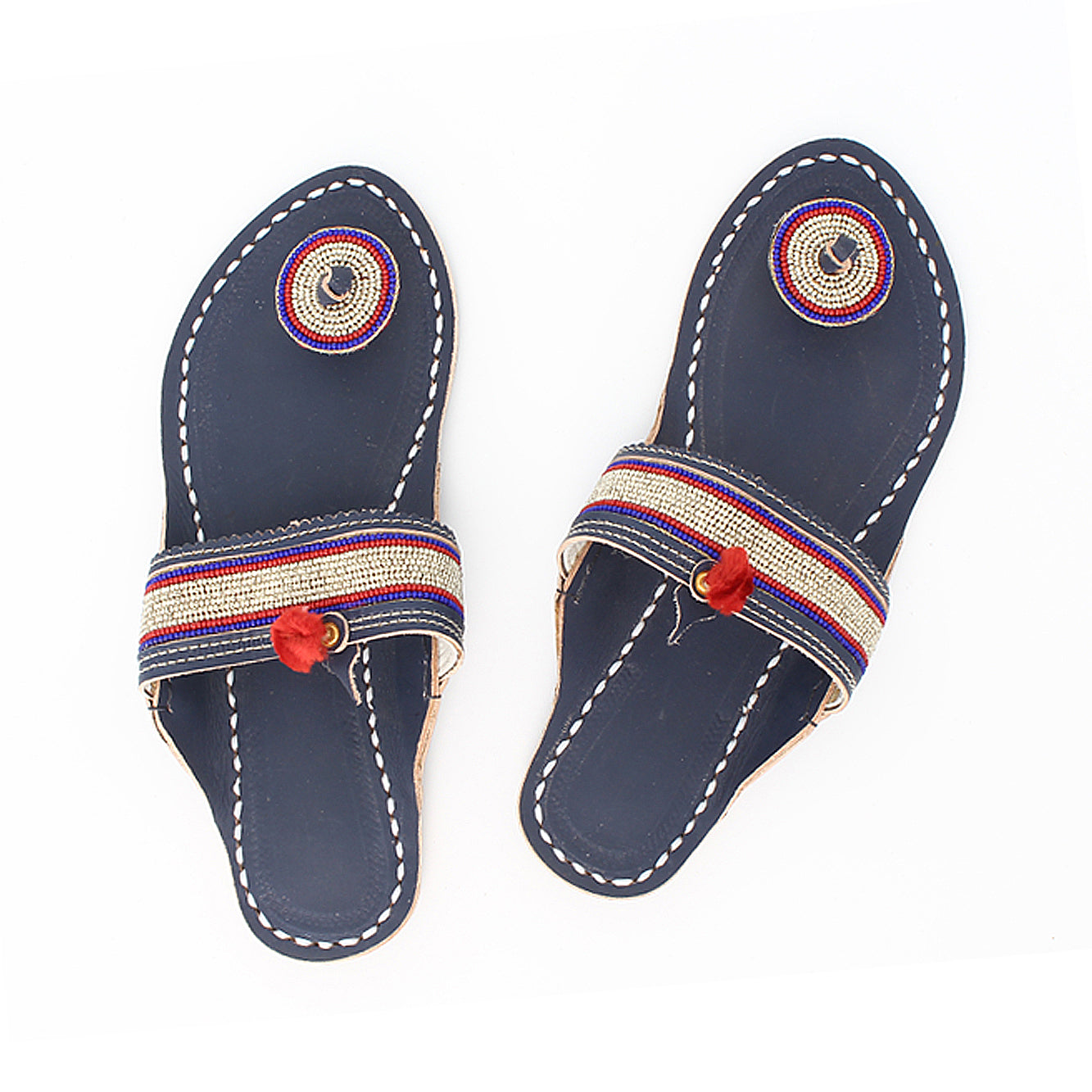 Premium Quality Stunning  Look Dark Blue Base and Silver Beads Leather Flip Flop for Women KRKA-P-W-220