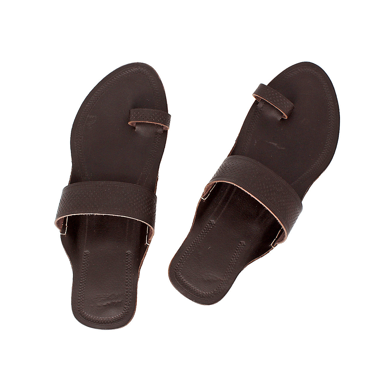 Simple and Sweat Dark Brown Handmade Indian Ethnic Flip Flop Sandal for Ladies KRKA-P-W-225