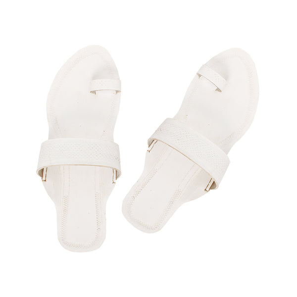 Good Looking white Leather  Kolhapuri Leather Chappal for Women KRKA-P-W-233
