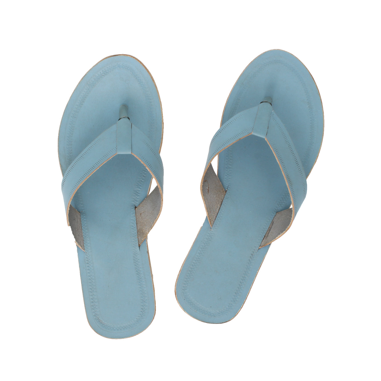 Attractive Sky Blue Kolhapuri Leather Slipper for Women KRKA-P-W-239