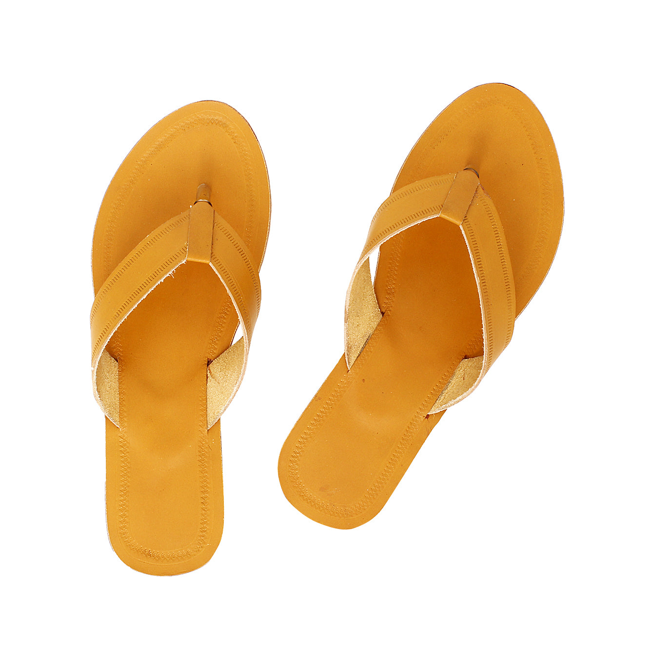 Sweet Dark Yellow Kolhapuri Flat Heel Slipper for Women KRKA-P-W-247