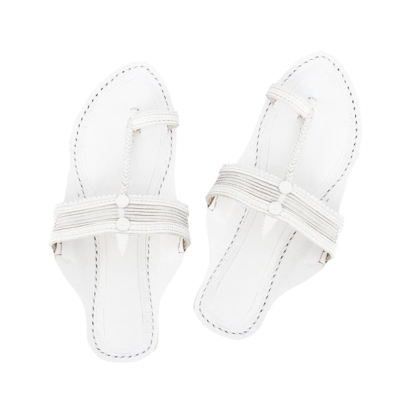 Premium Quality White Kolhapuri Chappal for Women KRKA-P-W-252