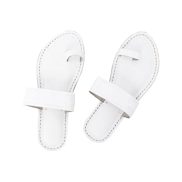 Premium Quality White Handmade Kolhapuri Leather Sandal for Women KRKA-P-W-253