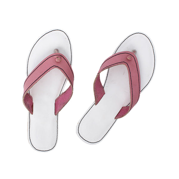 Premium Quality White and Pink Kolhapuri Slipper for Women KRKA-P-W-254