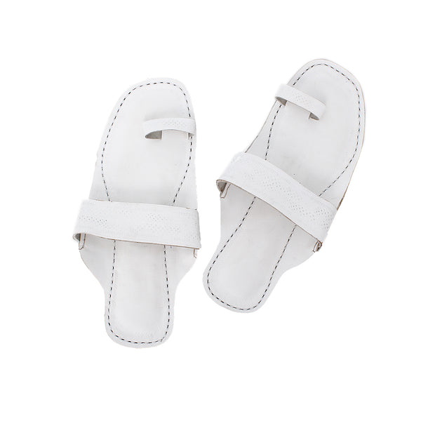 Premium Quality Toe Style White Indian Ethnic Sandal for Women KRKA-P-W-255