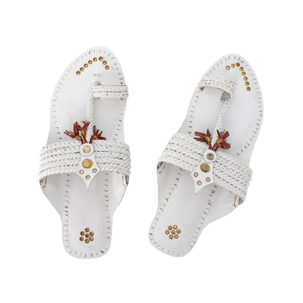 Premium Quality Yellow and White Bead Design Kolhapuri Chappal for Women KRKA-P-W-256
