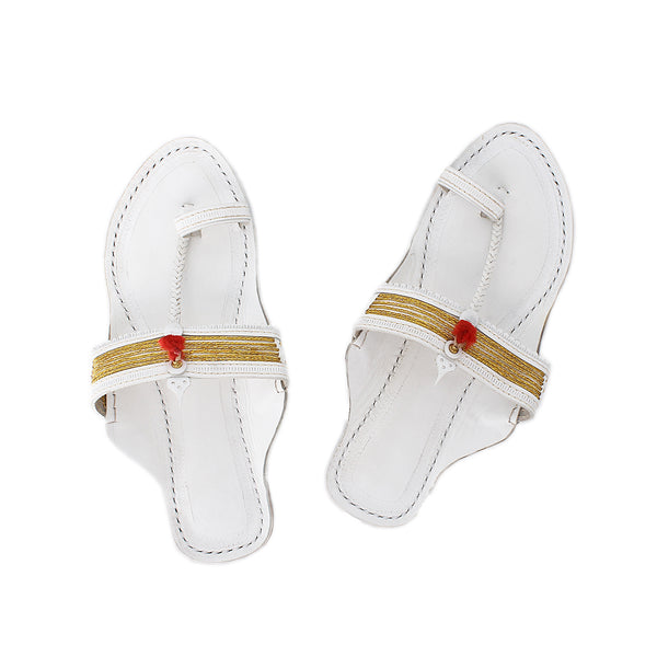 Premium Quality Golden Braids and White Base Indian Traditional Kolhapuri Chappal for Women KRKA-P-W-258