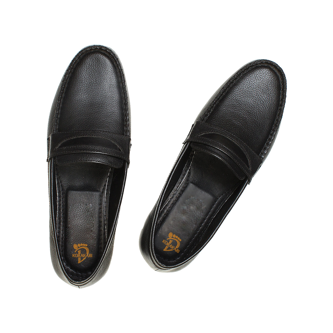 Casual Handmade Leather Loafer Black Shoe for Men KRKA-S-009