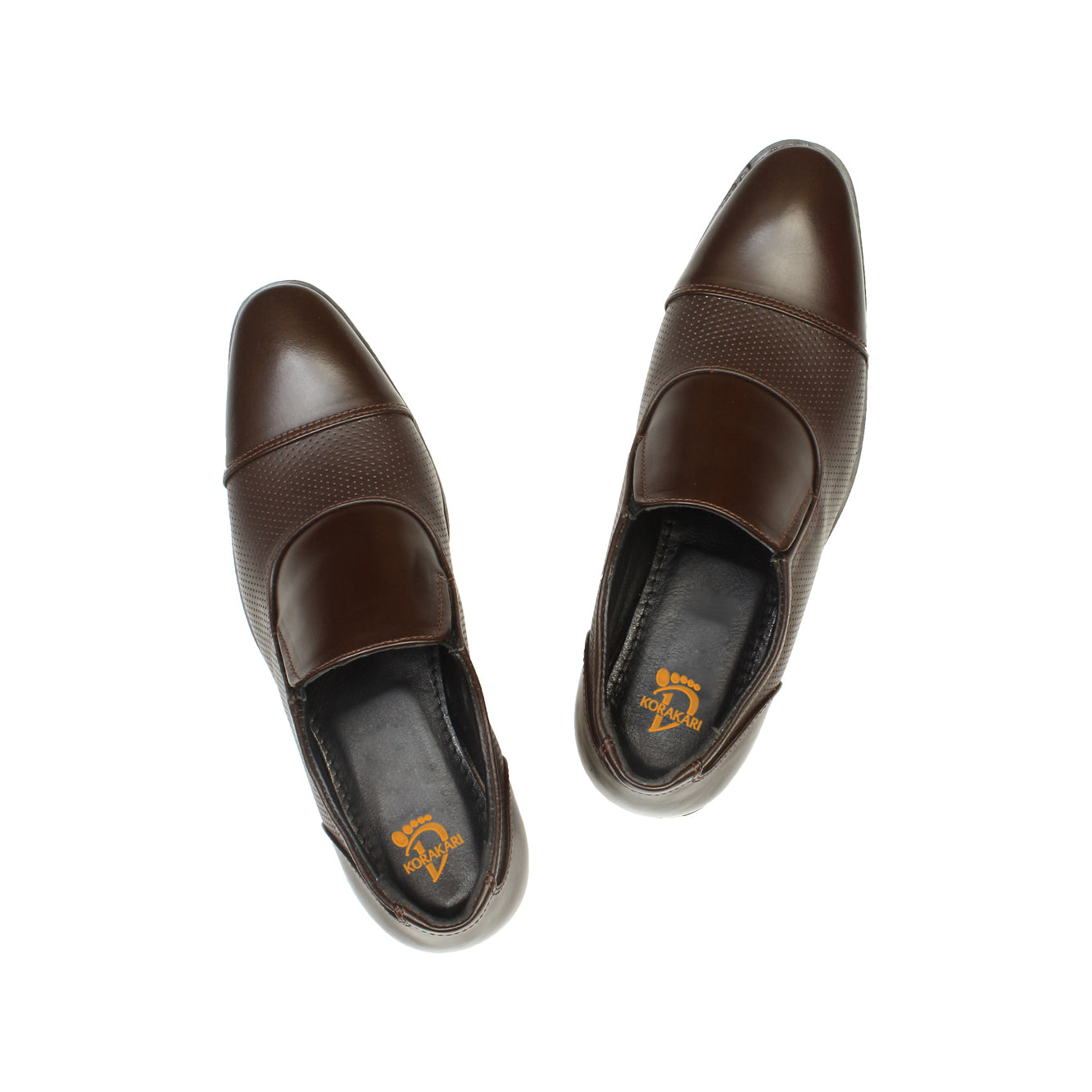 Cleverly Handcrafted in Genuine Brown Leather Elastic Slip-on Shoe for Men KRKA-S-027
