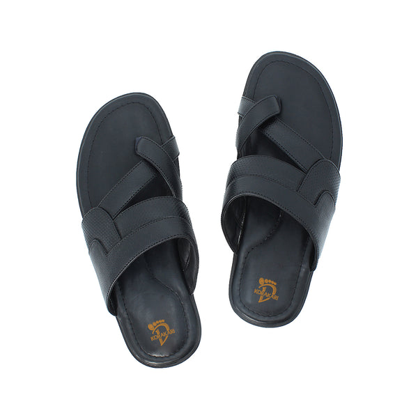 Expertly Handcrafted Black Leather Sandal  for Men KRKA-S-031