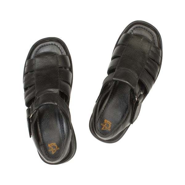 Adroitly Handcrafted Black Open Leather Sandal for Men KRKA-S-034