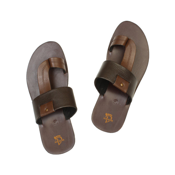 Comfortable Handmade Brown Leather Sandal for Men KRKA-S-035