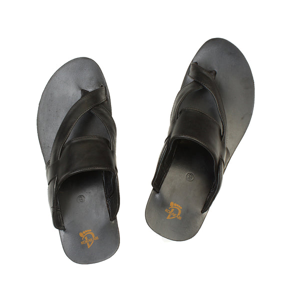 Comfortable Handmade Black Cross Lace Leather Sandal for Men KRKA-S-036