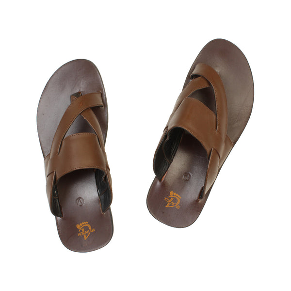Calm Handmade Brown Cross Lace Leather Sandal for Men KRKA-S-037
