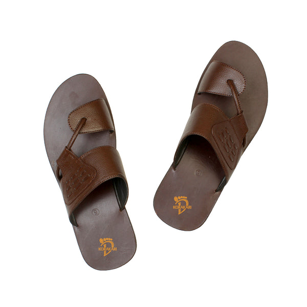 Attractive Handmade Brown Leather Sandal for Men KRKA-S-040