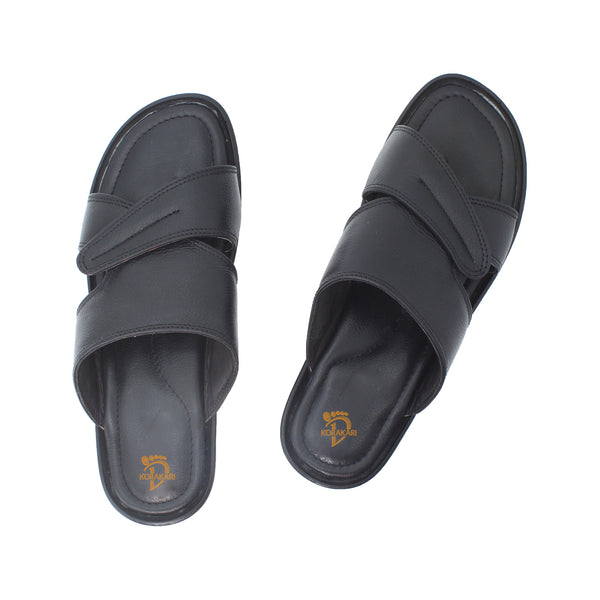 Nice-looking Comfortable Handmade Black Leather Sandal for Men KRKA-S-041