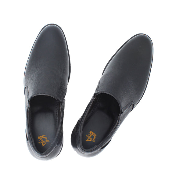 Sensibly Handcrafted Genuine Black Leather  Slip-On Shoe for Men KRKA-S-043